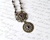 Purple Steampunk Necklace, Watch Gear Necklace
