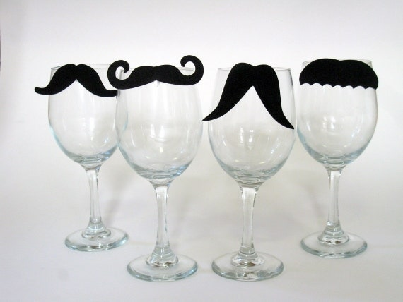 Staches for Your Glasses Mustache Wine Charms (Set of Four to clip on your glass) (Moustache) Party Favors, Wedding Favors, Gifts under 15