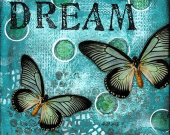 Dream Collage - Print Mounted on Wood