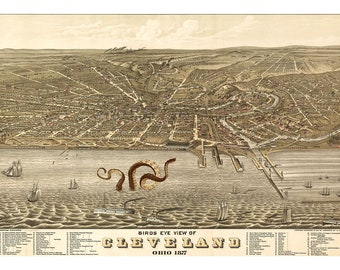 Digital Print, Cleveland, Octopus Tentacles, Cleveland Art, Cthulhu, Giant Squid, Cleveland Ohio, Lake Erie, Geekery, Alternate Histories