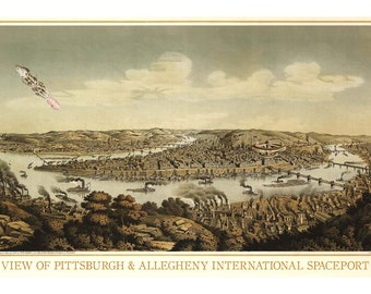 Pittsburgh, Digital Print, Pittsburgh Art, Rocketship, Pittsburgh Skyline, Pittsburgh Map, Spaceship, Geekery, Alternate Histories