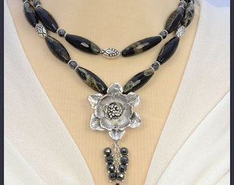 Faceted Black  Double Strand Chunky Statement Necklace With Large Flower Pendant