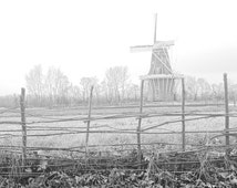 DeZwaan Dutch Windmill in the Fog in Late Fall by Holland Michigan No.232BW A Black and White Fine Art Landscape Photograph