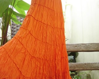 Ariel on Earth - Boho Gypsy Long Tiered Ruffle Cotton Skirt - Fresh Orange