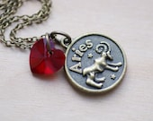 Aries Zodiac Necklace - Siam Red Swarovski Crystal Heart Astrology Birthday