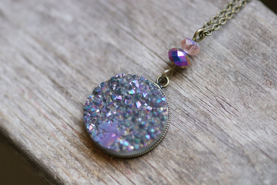 Dusty Amethyst & Turquoise Druzy Agate Necklace Sparkly Titanium Drusy