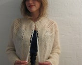 Safeena Wool boho gypsy cream hand knitted cardigan with front ribbon tie lattice lace design