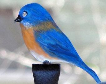 BLUEBIRD FINIAL: Hand Painted Metal Bluebird Finial For  Bird Feeder Poles
