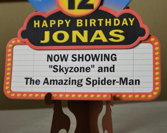 Movie Night Birthday Party Decorations, Movie Theme, Door Sign Marquee 3-D - CUSTOM Message