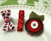 Meredith - Set of 3 coordinating clips in red, white and brown