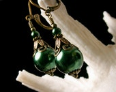 Forest Emerald Green Crystal Pearl Drop Victorian Earrings Antique Gold Bronze Filigree Titanic Temptations Vintage Steampunk Bridal Jewelry