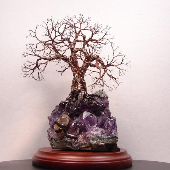 Wire Tree Of Life Uruguay Black Amethyst Geode Quartz Crystal