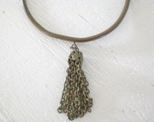 Antique Brass Choker Tassel Necklace One of a Kind Handmade Victorian Vintage GallivantsVintage
