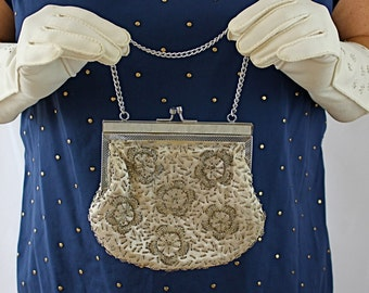 Vintage 60s Formal Bead Handbag White Satin w Floral Glass Bead Design