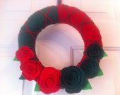 Handmade Holiday Yarn Wreath with Green and Red Roses -10 in wreath-ready to ship