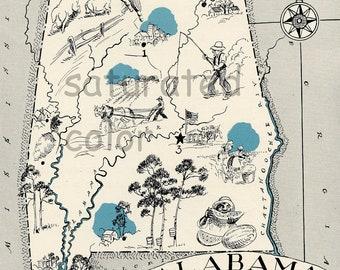 Alabama Map 1931 ORIGINAL Vintage Picture Map - Antique Carming Teal Aqua - Birmingham Mobile Montgomery Gadsden Gulf Shores RARE USA Map