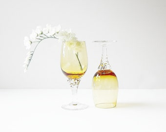 Amber Glass Cordials - Stemmed Shot Glasses - Hand Blown Art Glass - Vintage Collectible Glassware Honey Gold Drinkware Elegant Barware