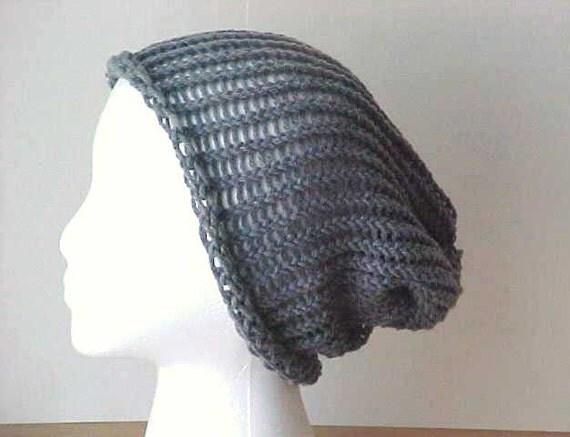 Gray Slouchy Beanie  /  knit hat  / oversize beanie  / Woman Teen /  by Peace Stitch Studio