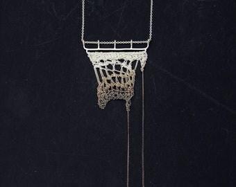 Rio Blanco gradient brown silver crochet necklace