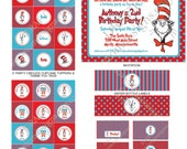 DIY -  Printable: Cat in the Hat Birthday Party Set -  14 items (invitation, party circles, water bottle labels, banner and more)