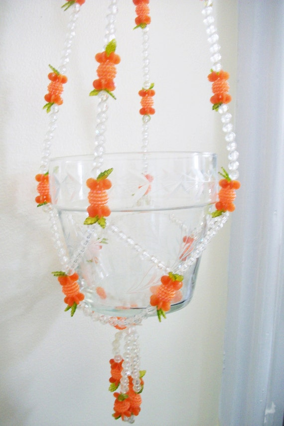 Vintage Beaded Plant Hanger - Clear and Orange Plastic Beads - 2 available