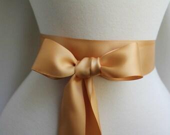 Gold Golden Sash - Antique Gold Sash - Double Faced Satin Ribbon Sash - Bridal Bridesmaids Flower girl Sashes