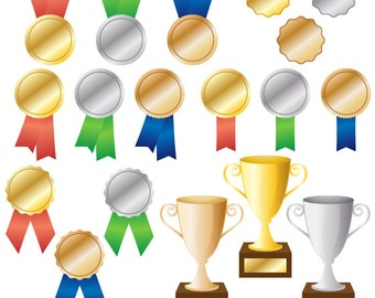 Awards Clipart Clip Art, Trophy and Ribbon Clipart Clip Art - Commercial and Personal