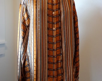 Vintage Silk Blouse 1980s  Womens Top Black and Copper Stripe Silk Oversize Blouse Plaid Silk Top Size Large