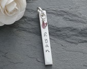 Personalized Rectangle charm with birthstone - Add a Charm