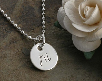 "Initial Necklace - Hand Stamped 7/16"" disc - Sterling Silver"