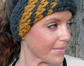 Knit Head Wrap - Choose Your Colors - MEGA Ear Warmer Headband - Diagonal Stripes - One Size Fits Most