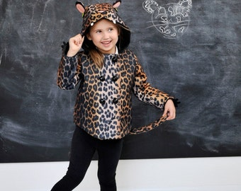 Girls Leopard Coat// Girls Leopard Halloween Costume//Baby Leopard Winter Coat// Handmade Cheetah Coat