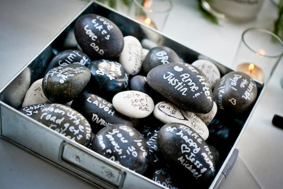 Guest Book Stones - Wishing Stones - Guest Book Alternative - Unique, Fun, & Eco Friendly - 85 Count