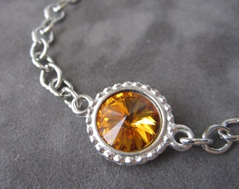 November Birthstone Bracelet, Silver Chain Swarovski Crystal Birthstone Jewelry, Topaz Bracelet, Mother's Jewelry