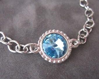 March Birthstone Bracelet, Silver Aquamarine Blue Crystal Birthstone Jewelry, Aquamarine Bracelet