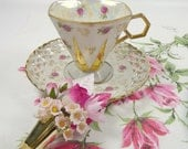 Vintage Footed Hexagon Tea Cup & Saucer Lusterware Pink Roses Hankie and Vintage Rose Tussie Mussie Corsage Mothers Day Gift Set Royal Sealy
