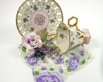 SALE Tea Cup Hankie Corsage Gift Set Lusterware Hexagon with Purple Lavender Floral Handkerchief and Velvet Rose Pin Royal Sealy