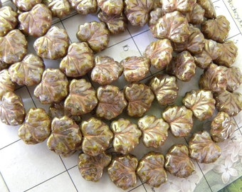 20 Maple Leaves, Czech Pressed Glass, Mottled Colors Brown, Gold, Pink, Gold, Purple, Yellow, White, Full Strand, GORGEOUS