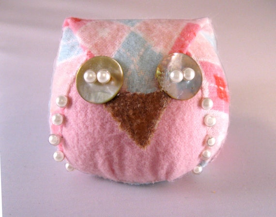 Sweet Pink and Blue Harlequin Patterned Hootie Cutie