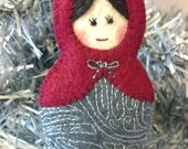 Felt Russian Doll Ornament hand embroidered/ maroon light gray blue