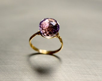Pink Amethyst Solitaire & Gold Ring