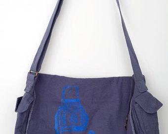 Denim Blue Messenger Bag with Blue Camera Design (Vintage Camera Art) Hand-Pulled Screenprint