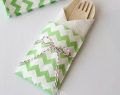 10 Wood Wooden Cutlery Bags w/ Silverware Utensils Table Setting Wedding Kids Birthday Party Baby Shower Favors Paper Goods Lime Chevron