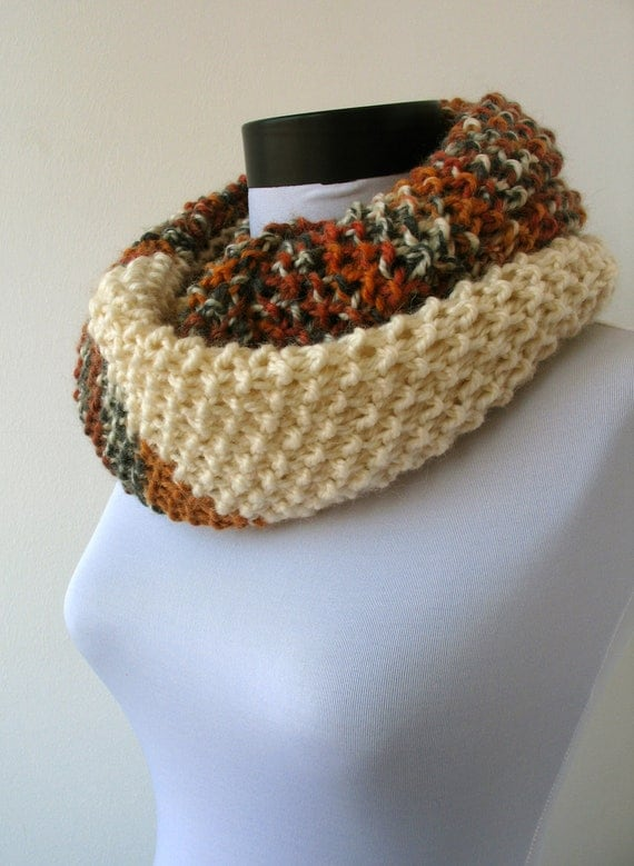 30% OFF SALE - Circle scarf  - loop scarf - infinity scarf - neck warmer - hand knitted - in orange, gray,brick,brown and cream (WAS 49)