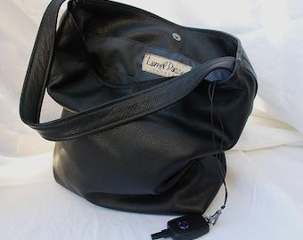 Large Black pebbled Leather Bucket Tote Bag handbag - Laurel Dasso