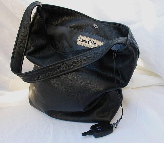 Large Black Leather Bucket Tote Bag Hobo handbag - Laurel Dasso