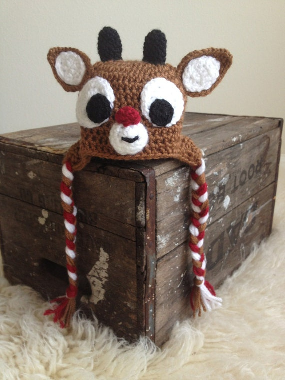 Knitting Pattern For Reindeer Hat : Items similar to LIL RUDY - Red-nosed Reindeer hat inspired by Rudolph -...