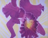 """Original Oil Painting, 12""""x12"""" Purple Orchid Study 3, Tropical Floral, Flower Gift Idea on Canvas"""