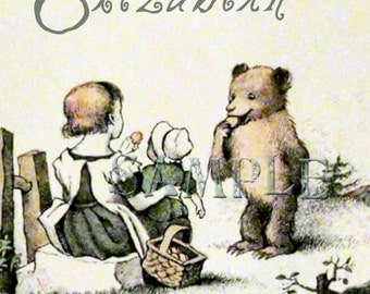 Cookies With Friends - Brown Bear - Doll with Bonnet - Little Girl  - Bookplate - Vintage Art