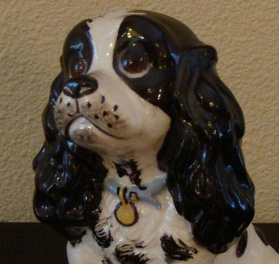 "Cocker Spaniel Dog Figurine Named ""Little Butch"" by Straehle Mid Century Pottery"